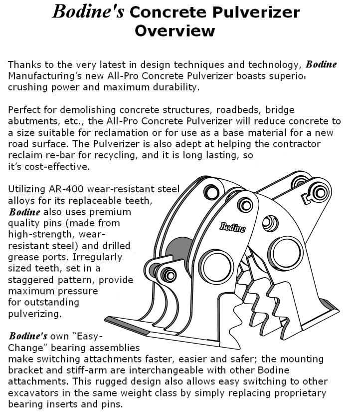 Bodine Mfg. All-Pro Quick Coupler Concrete Pulverizer Product Overview