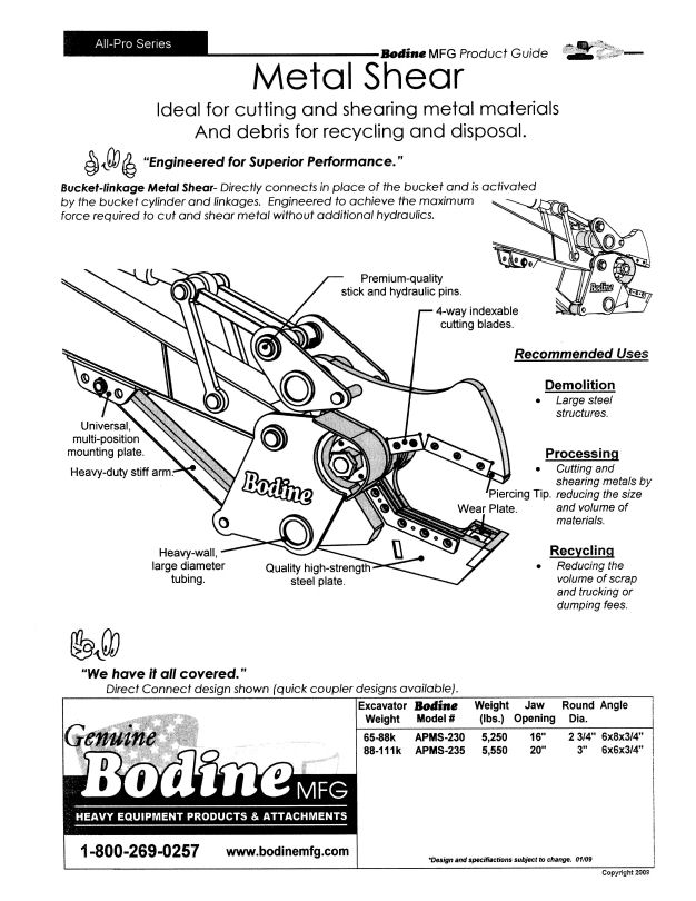 Bodine Mfg. All-Pro Series Metal Shear Product Guide