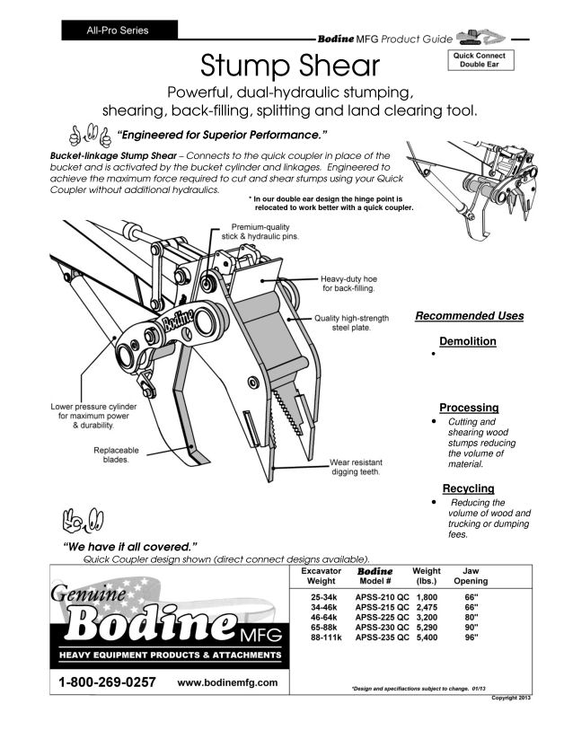 Bodine Mfg. All-Pro Quick Connect Stump Shear Product Guide