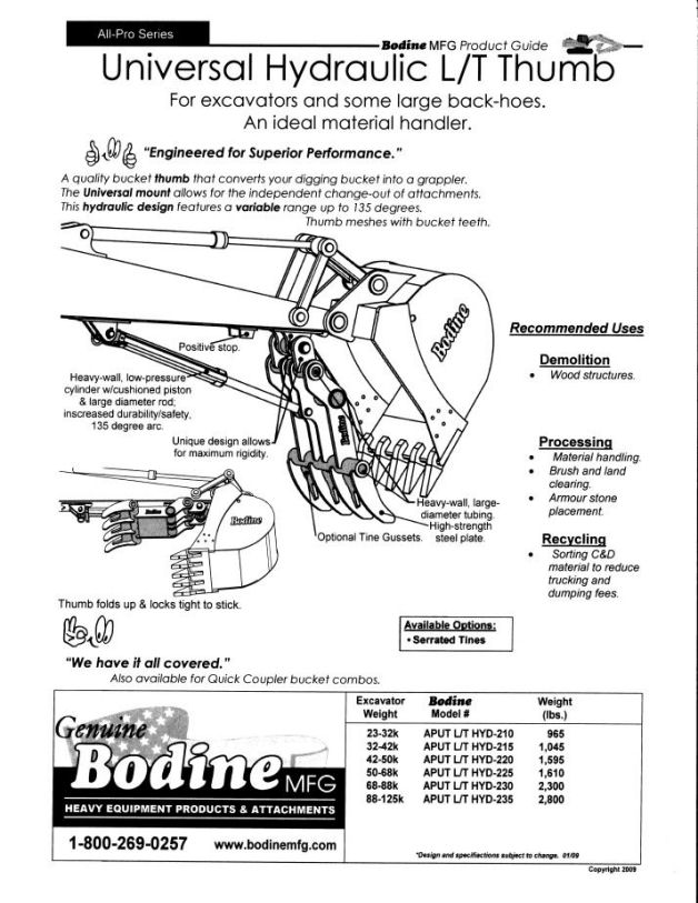 Bodine Mfg Universal & Hydraulic Excavator Attachments Thumb