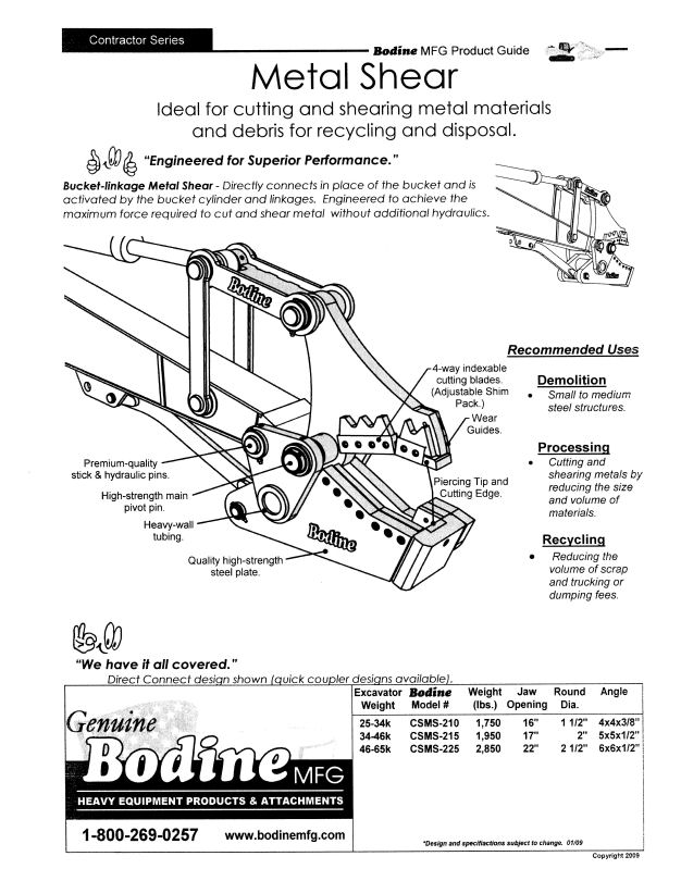 Bodine Mfg. Contractor Series Metal Shear Product Guide