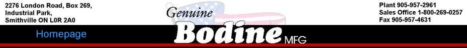 Bodine Mfg. Homepage